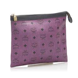Purple MCM Visetos Leather Clutch Bag