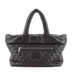 Coco Cocoon Zipped Tote Quilted Caviar Large