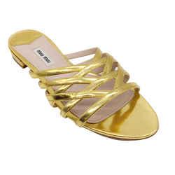 Miu Miu Gold Leather Slip On Sandals