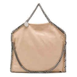 Stella Mccartney Falabella-shaggy Deer Faux Leather Shoulder Bag In Nude