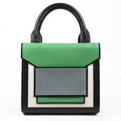 Pierre Hardy Green White Black Color Block Leather Satchel Bag