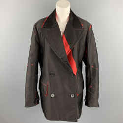 PRADA Size S Brown & Red Print Cotton Peak Lapel Double Breasted Peacoat