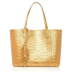 Nancy Gonzalez Erica Caiman Crocodile Tote Metallic Gold Purse Shoulder Bag