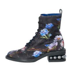 Nicholas Kirkwood Casati Faux-pearl Floral Combat Boots