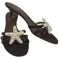 Valentino Brown Leather with Pearl Starfish Sandals Size: EU 39.5 (Approx. US 9.5) Regular (M, B) Item #: 24814026
