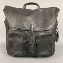 COACH Black Leather Top Handles Backpack