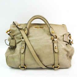 Miu Miu Side Ribbon Women's Leather Handbag,Shoulder Bag Beige BF516604