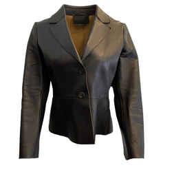 Prada Black Leather Two Button Jacket
