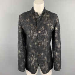 JEAN PAUL GAULTIER Size 8 Black & Silver Silk Mary Jane Buttoned Jacket