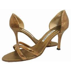 Manolo Blahnik - Metallic Sandals - Bronze - Size 38.5 EU