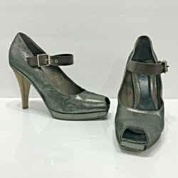 Marni Square Peep Toe Slingback Platform Pumps Metallic Brown Leather Size 10 41