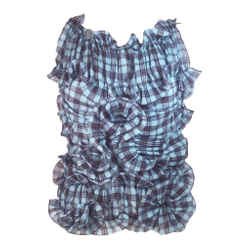 MARC JACOBS Blue and Plum Plaid Ruffle Blouse Size 6