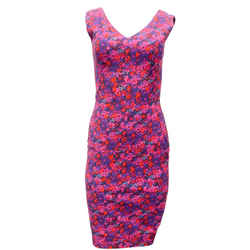 ERDEM Magenta Multi Floral Print Short Casual Dress