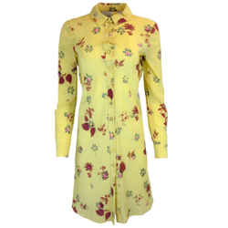 Valentino Yellow Floral Print Silk Shirt Dress