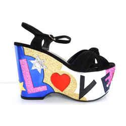 Saint Laurent Candy Platform Giltter Sandal Sz 37 Ysl Love Nib $1095
