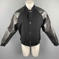 MARC JACOBS Size 38 Black Mixed Materials Wool Blend Leather Sleeves Jacket