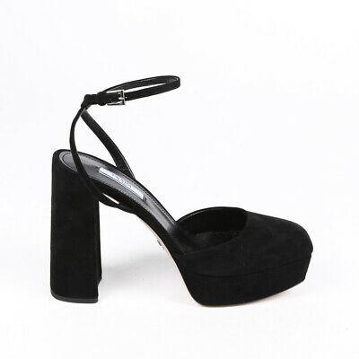 Prada Pumps Black Suede Platform Block Heel Ankle Strap SZ 40