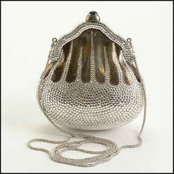 Rdc11271 Authentic Judith Leiber Silver Crystal Minaudiere Chatelaine Bag