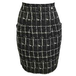 Chanel Black and White Abstract Print Skirt