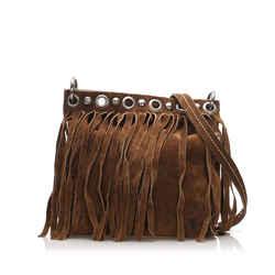 Vintage Authentic Miu Miu Brown Fringe Suede Crossbody Bag France