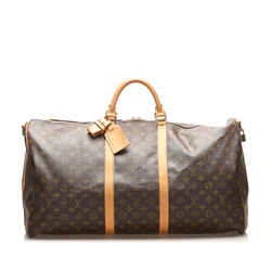 Vintage Authentic Louis Vuitton Brown Monogram Keepall 60 France