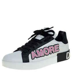 Dolce & Gabbana White/Black Leather Portofino Love Patch Low Top Sneakers Size