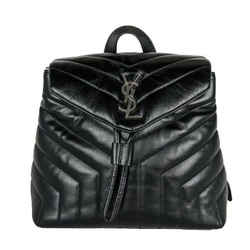 Saint Laurent Monogram Loulou Matelasse Chevron Small Black Leather Backpack