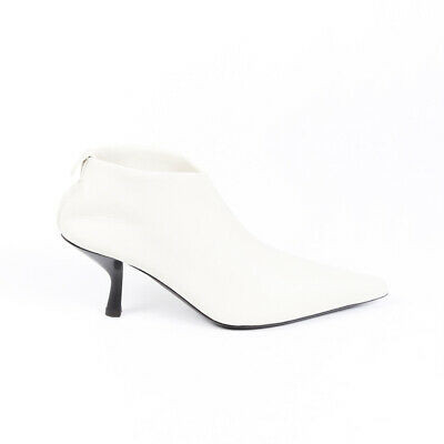 The Row Cream Leather Pointed Booties SZ 36