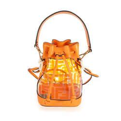 Fendi Orange Leather & Plexi Zucca Mini Mon Tresor Bag