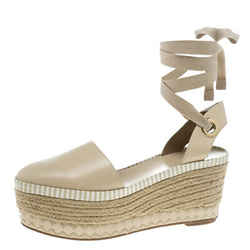Tory Burch Beige Leather Dandy Ankle Wrap Espadrille Wedge Sandals Size 41