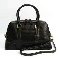 Coach Signature Emboss 7011 Women's Leather Handbag,Shoulder Bag Black BF519552
