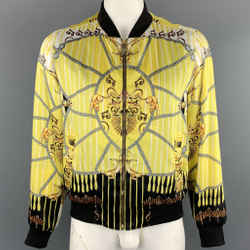 Versace Collection Size 42 Yellow & Black Print Polyester Bomber Jacket