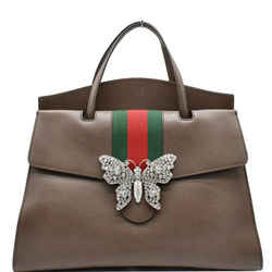 GUCCI  Butterfly Linea Totem Leather Large Top Handle Shoulder Bag Brown 500772