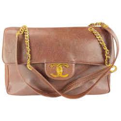 Chanel XL Brown Caviar CC Classic Flap Weekender Gold Chain Bag 10CCL1125
