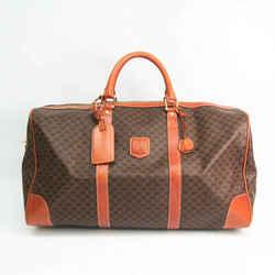 Celine Macadam Unisex Leather,PVC Boston Bag Brown,Dark Brown BF528468