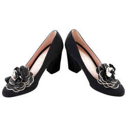 Chanel Black Camellia Flower Detail Pumps