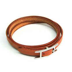 Hermes Api III Choker Leather,Metal Bangle Brown,Silver BF528810