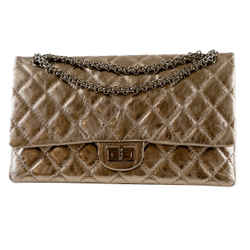 "Chanel 2.55 Reissue Metallic Pewter Distressed Lambskin Leather Shoulder Bag 11""l X 6.5""h X 2.5""w"