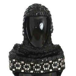 Dolce & Gabbana Black Knitted Wool Crystal Beaded Hood Scarf Men's Hat
