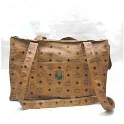 MCM Cognac Monogram Visetos Shopper Tote Bag 861768