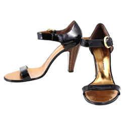 Giuseppe Zanotti Black Patent Leather Gold Buckle Sandals