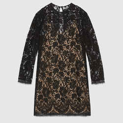 Sz 36 XS New $2400 Gucci Black Sheer Floral Lace Long Sleeves Dress W/ Nude Slip