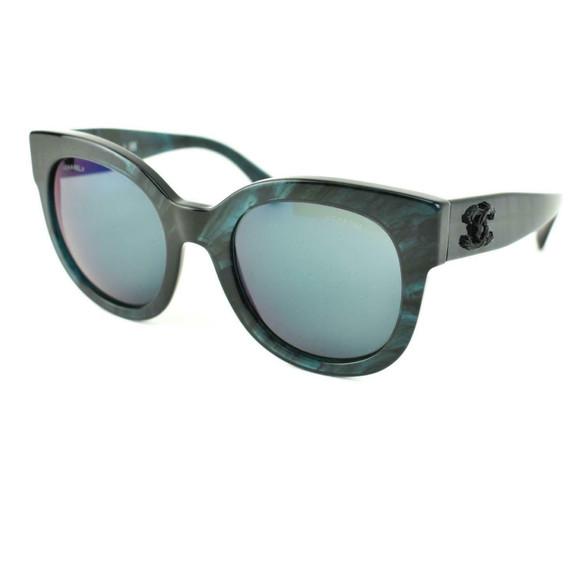 "CHANEL: Mediterranean Sea, Blue & ""CC"" Logo Mirrored Sunglasses (ls)"