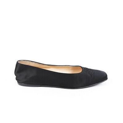 Chanel Camellia Black Satin Square Toe Flats SZ 37