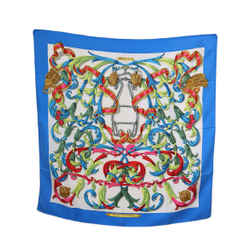 Hermes Blue Teal White Fuschia Silk Scarf