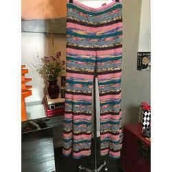 Missoni Size 42 Pink & Green Waffle Striped Knit Striped Pants 2400-386-11820