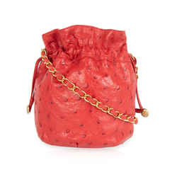 Chanel Vintage Red Ostrich Leather Drawstring Bag