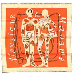 HERMES Monsieur et Madame Vintage Silk Scarf Behind the Scenes Collection