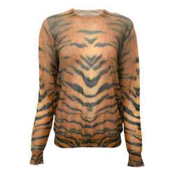 Dries van Noten Sheer Crew Neck Tiger Print Sweater