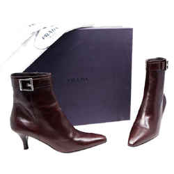 Prada Moro Evening Boots Soft Lux Dark Brown One Size Authenticity Guaranteed
